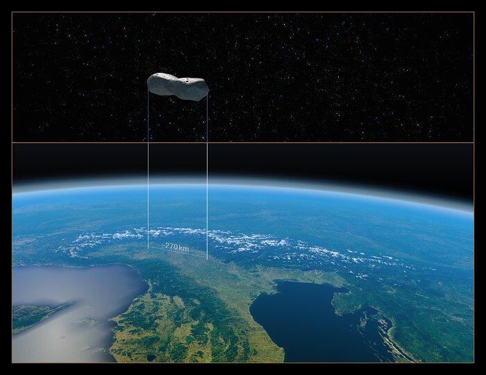 Confronto delle dimensioni dell'asteroide Kleopatra con il nord Italia