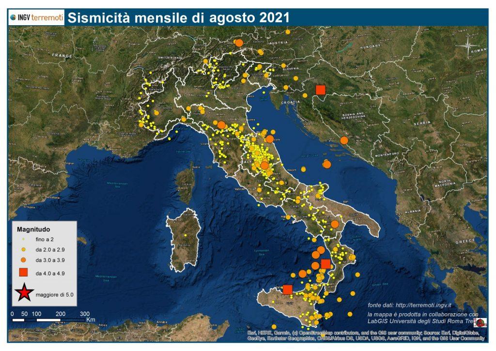 mappa sismicità agosto 2021